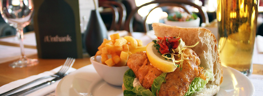 Cajun Catfish Butty and Chips.